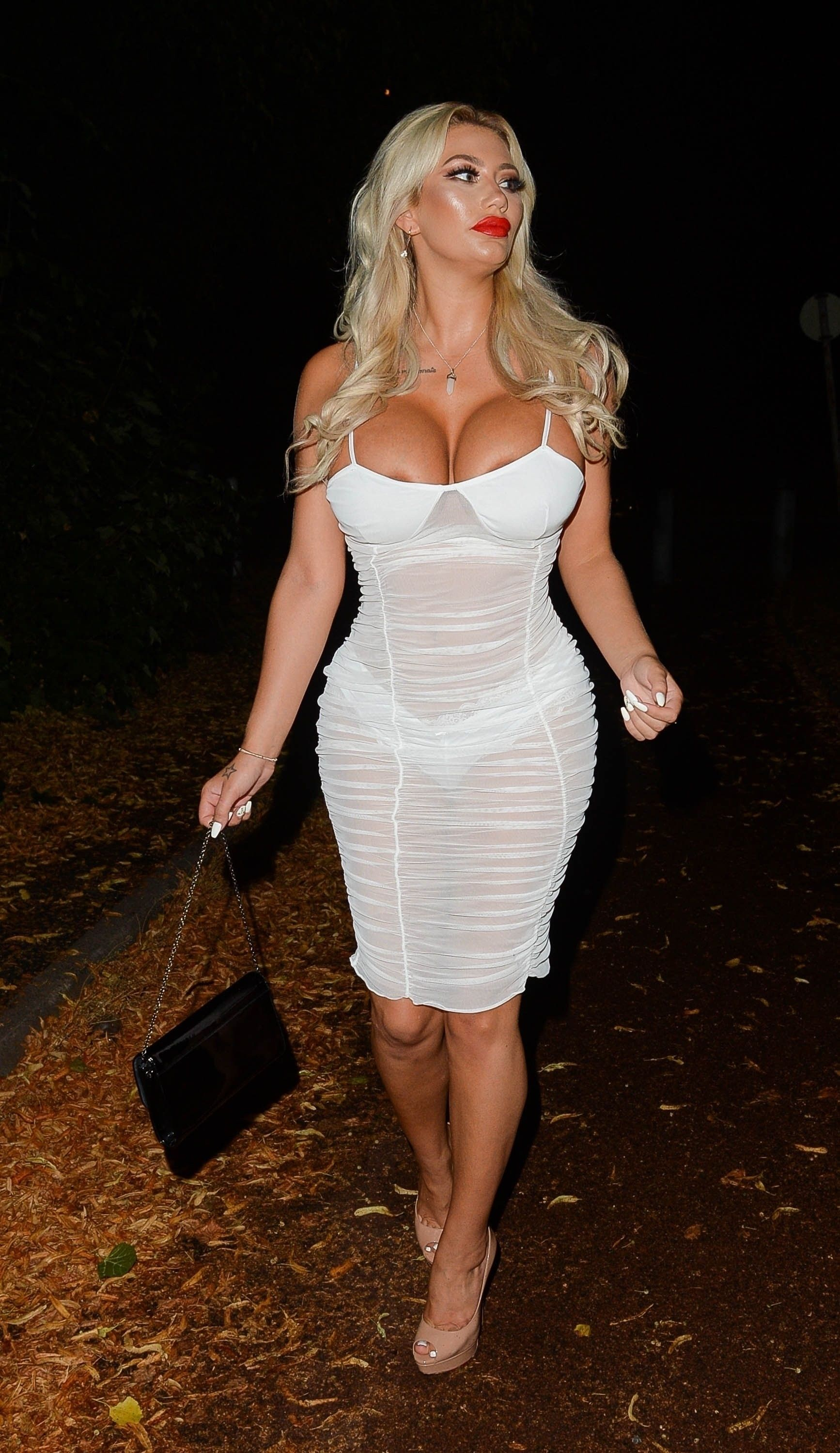 nip slip Sophie Dalzell seen leaving for a night out in