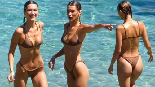 Bella Hadid Sexy Bikini Collages