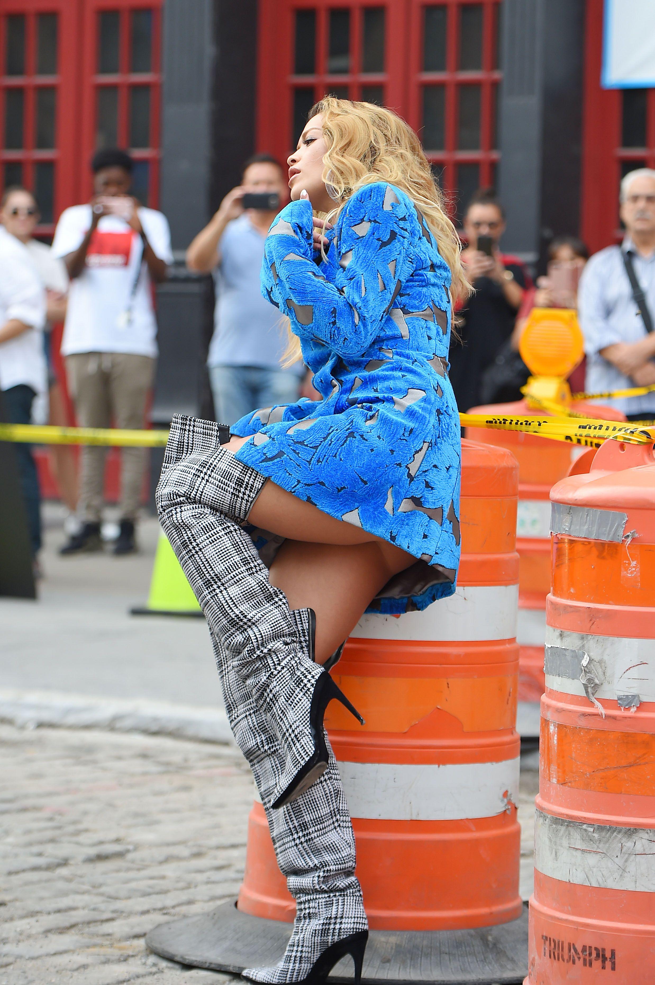 Rita Ora - upskirt during her video shoot in NYC