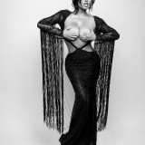 Abigail-Ratchford-Hand-Bra-In-Black-Dress-2
