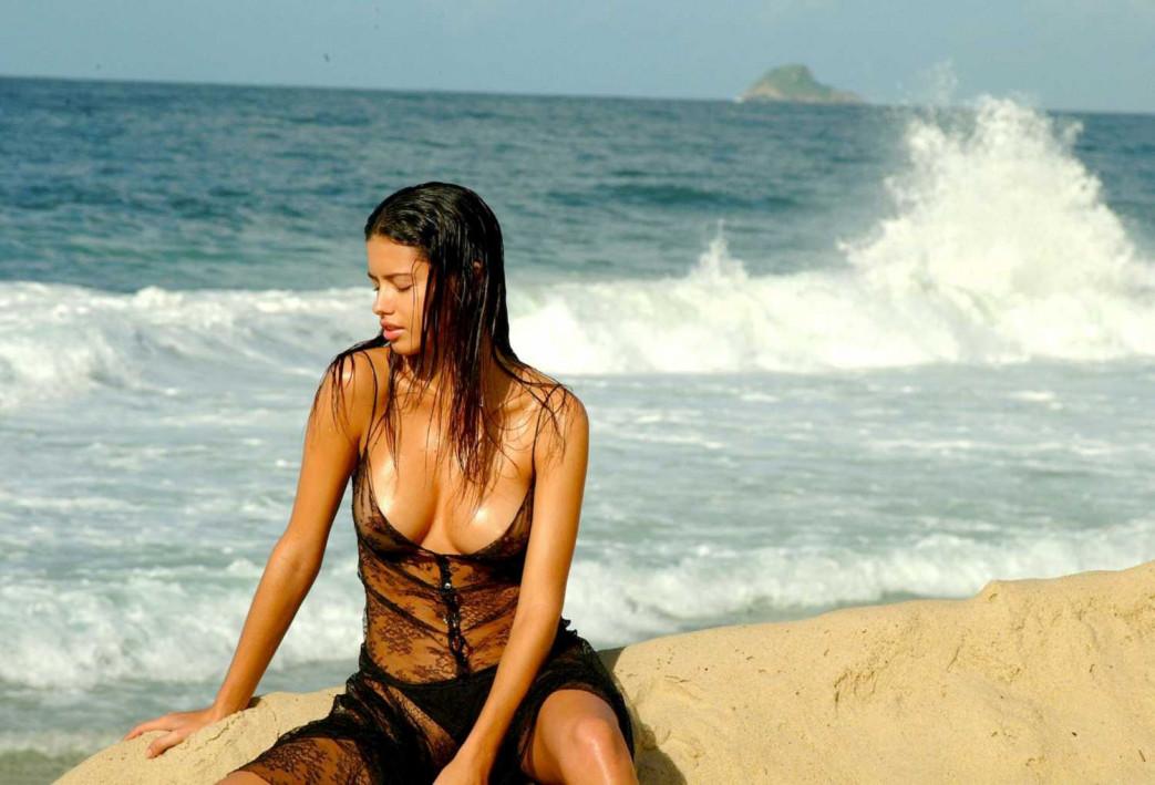 Adriana Lima in Wet See Thru Lingerie For Pirelli Calendar